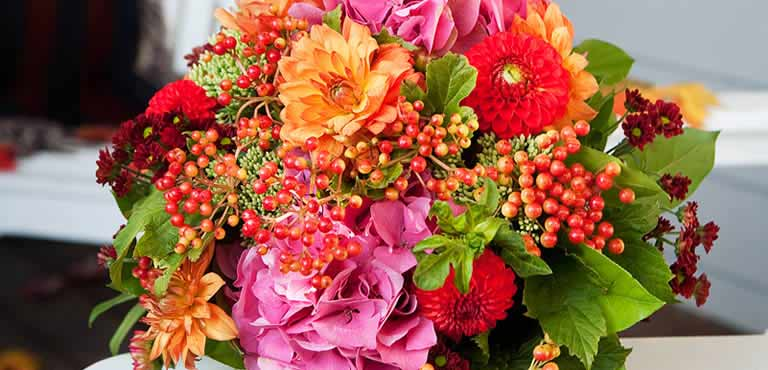 Autumn bouquet on table